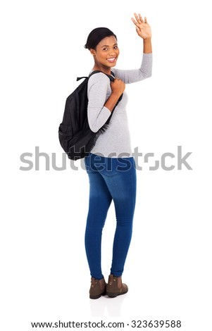 happy african american college student waving goodbye isolated on white background - stock photo
