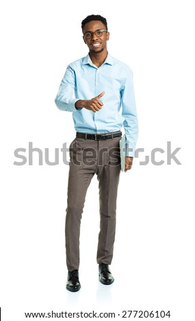 Happy african american college student with laptop and thumb up standing on white background - stock photo