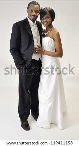 Happy african american couple on their wedding day - stock photo