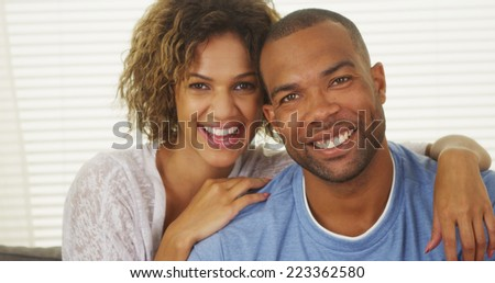 Happy African American Couple Smiling - stock photo