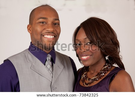 Happy African American couple smiling together