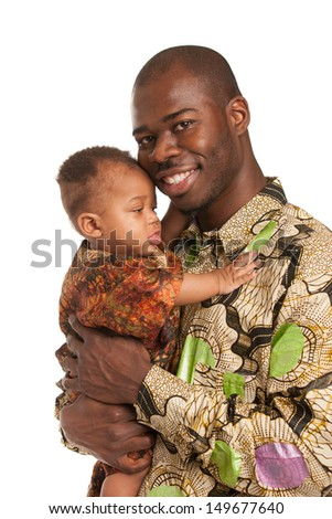 Happy African American Father Holding Baby High Key Portrait Isolated on White Background