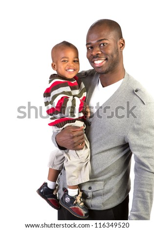 Happy African American Father Holding Smiling Baby Boy Isolated on White Background - stock photo