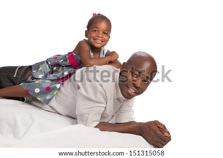 Happy African American Father with Baby Girl on Back white background