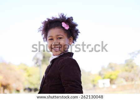 Happy african american little girl - stock photo