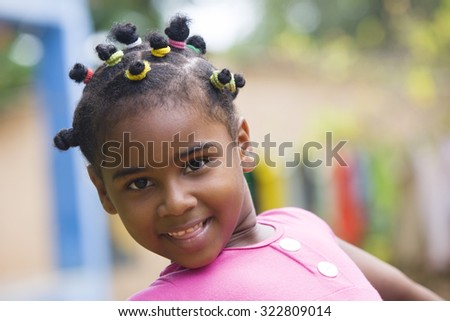Happy African american little girl portrait - stock photo