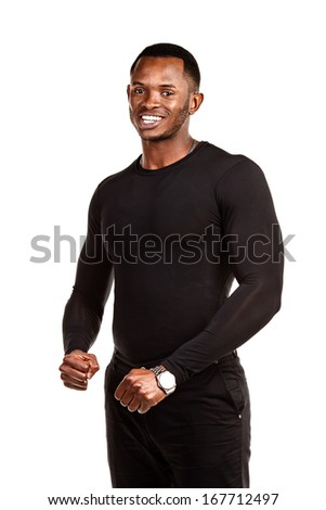 Happy African American male on white background