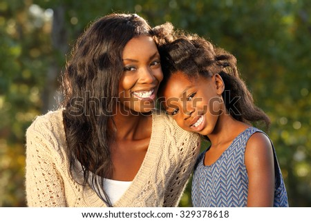 Happy African American  Mother an Child