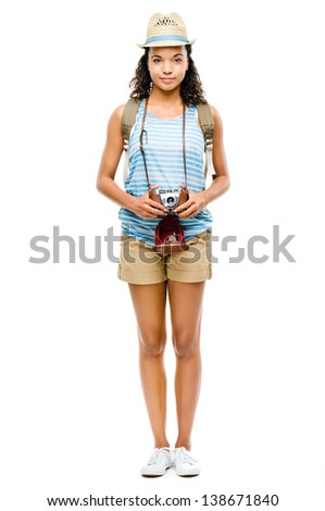 Happy African American woman tourist  isolated on white background - stock photo