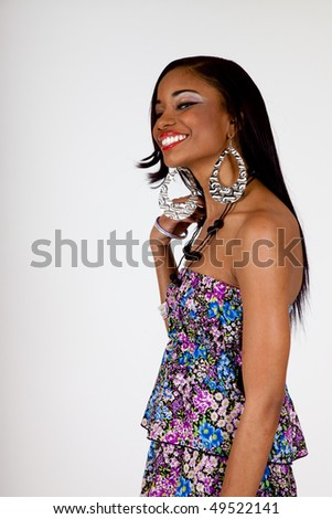 Happy African American woman with big smile