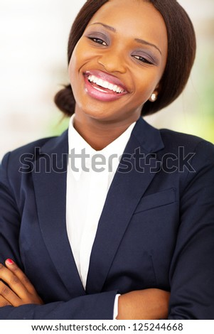 happy african businesswoman closeup portrait - stock photo