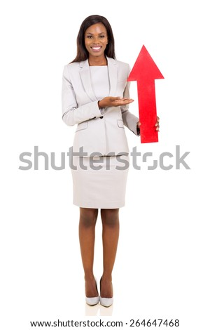 happy african businesswoman presenting red arrow symbol isolated on white