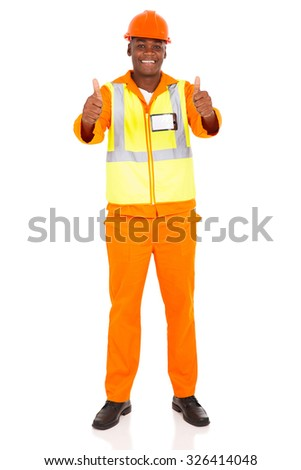 happy african construction worker giving thumbs up - stock photo