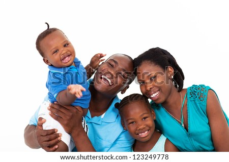 happy african family isolated on white - stock photo