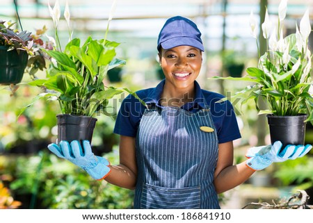 happy african florist holding two potted flowers in greenhouse - stock photo