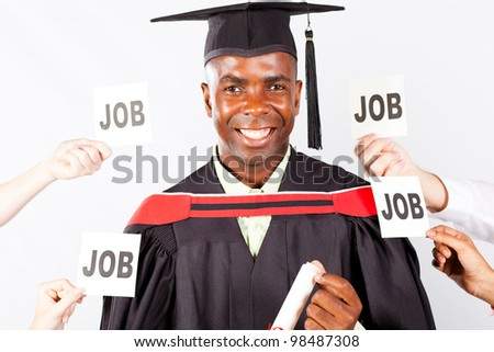 happy african graduate with job offers - stock photo