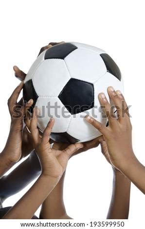 Happy african kids holding football , Studio Shot, Isolated - stock photo