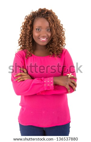 Happy african overweighted woman posing isolated over white background - stock photo