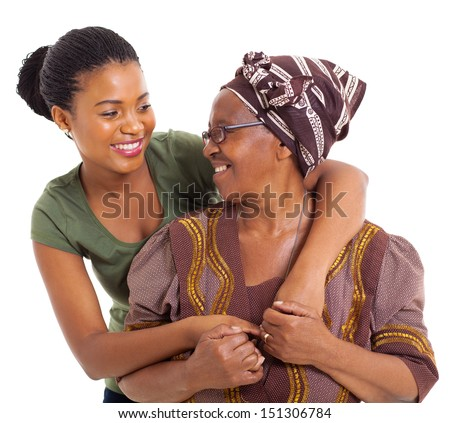 happy african senior mother and adult daughter closeup portrait on white - stock photo