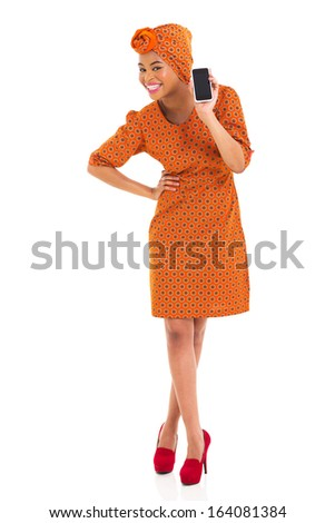 happy african woman holding her smart phone isolated on white - stock photo