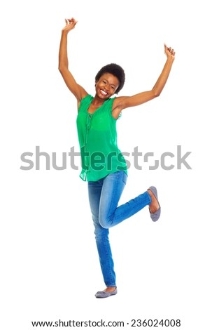 Happy african woman isolated on white background - stock photo