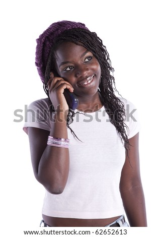 happy african woman speaking at her telephone (isolated on white) - stock photo