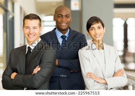 happy afro american businessman with co-workers