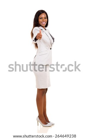 happy afro american businesswoman giving thumbs up on white background - stock photo