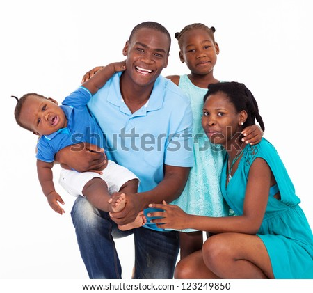 happy afro american family isolated on white - stock photo