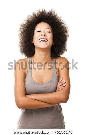 Happy Afro-American young woman isolated on white laughing - stock photo