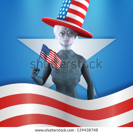 Happy alien. Independence day - stock photo