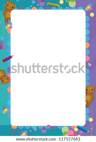 Happy and colorful - cartoon frame - illustration for the children