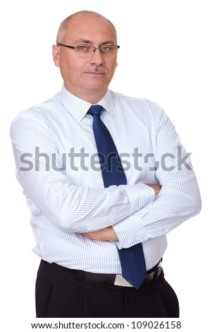 Happy and confident mature businessman, isolated on white - stock photo
