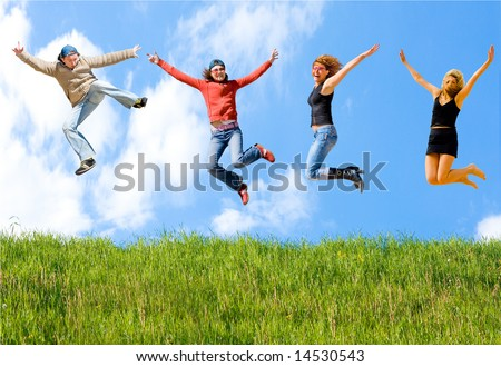 """happy and free -  of  """"Groups of people"""" series in my portfolio - stock photo"""