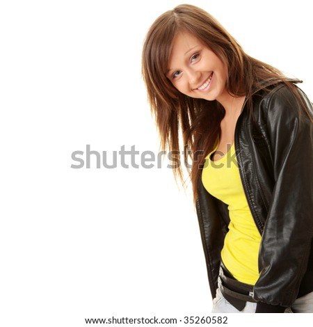 Happy and friendly young lady posing isolated on white background
