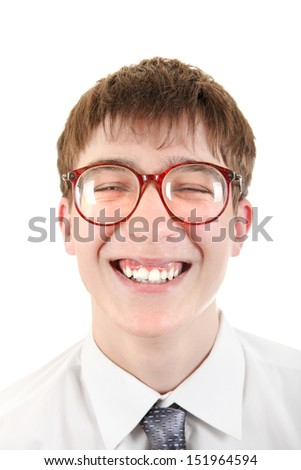 Happy and Funny Teenager portrait in a Glasses. Isolated on the White Background