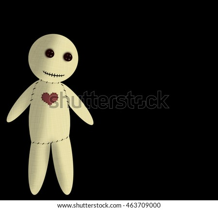 Happy and healthy voodoo doll with sewn heart