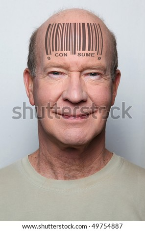 Happy and ignorant  consumer with a bar code on his forehead