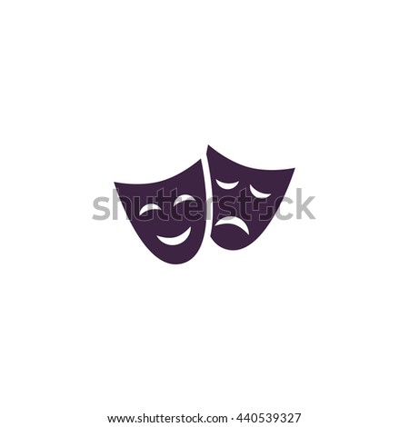 Happy and sad Theater masks. Simple blue icon on white background