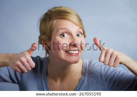 Happy and Satisfied Woman with Both Tumbs up ! - stock photo
