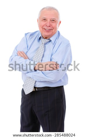 Happy and smile old mature businessman with arms crossed and white teeth in shirt and tie. isolated on white background. Positive human emotion, facial expression - stock photo