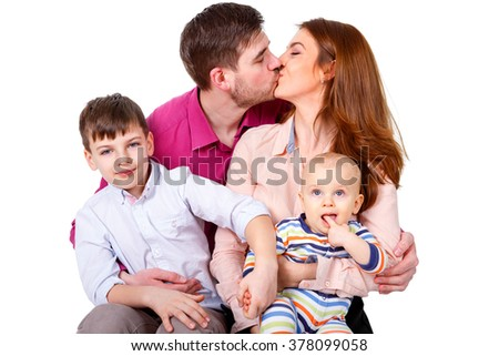 Happy and smiles Family with children on a white background isolated - stock photo