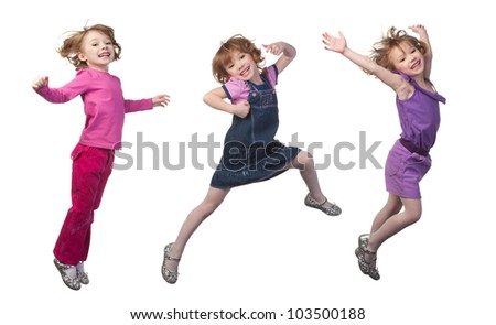 Happy and smiling girl jumping, over white - stock photo