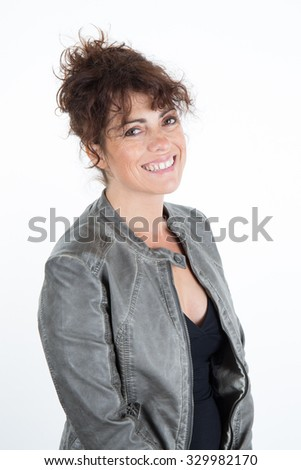 Happy and smiling woman isolated on white background