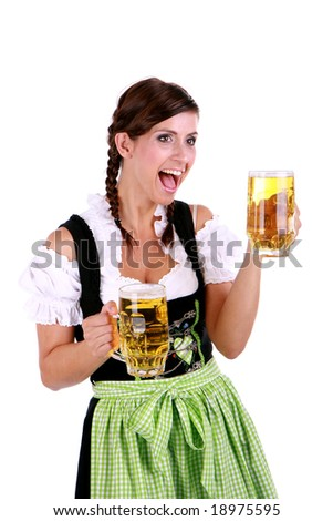 Happy and surprised woman while serving beer - stock photo