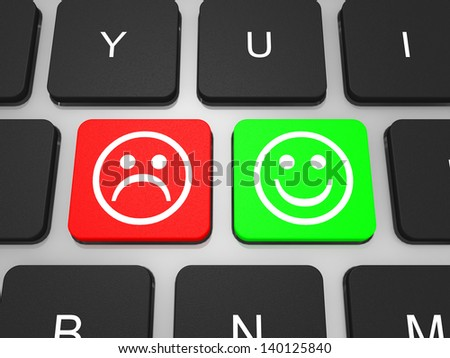 Happy and unhappy symbol key on keyboard of laptop computer. Social concept. 3D illustration. - stock photo