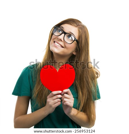 Happy and young woman in love - stock photo