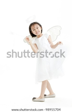 happy angel girl over white background - stock photo