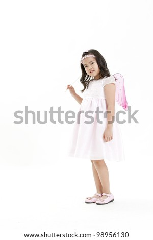 happy angel girl over white background - stock photo