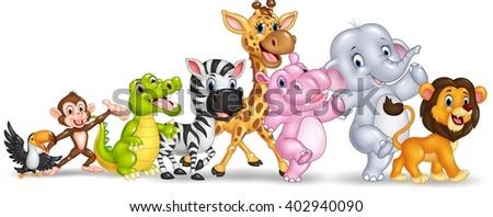 Happy animal africa isolated on white background - stock photo